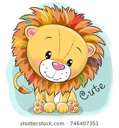 Illustration about Cute Cartoon Lion on a blue background. Illustration of cute, graphic, paper - 103014909 Cute Cartoon Animals, Cute Animals, Cartoon Drawings, Cute Drawings, Lion Cartoon Drawing, Cute Images, Cute Pictures, Lion Tribal, Cartoon Mignon