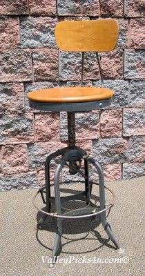 Vintage 1930s Industrial Machine Age UHL TOLEDO Drafting Office Bar STOOL  Chair