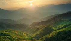 Sunrise at Terrace in Guangxi China 7 by Afrison Ma Terrace, Sunrise, China, River, Wall Art, Mountains, Photos, Outdoor, Pictures