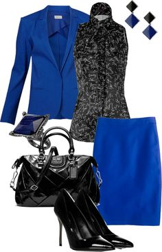 """black and blue business meeting"" by meganpearl on Polyvore"