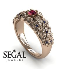 Floral Engagement Ring Yellow Gold Antique Ring Edwardian Engagement Ring Red Ruby Ring Flower Ring Floral Engagement Ring - Violet - Unique Engagement Ring Diamond ring Yellow by SegalJewelry - Yellow Engagement Rings, Unique Diamond Engagement Rings, Classic Engagement Rings, Deco Engagement Ring, Beautiful Engagement Rings, Designer Engagement Rings, Diamond Rings, Diamond Flower, Beautiful Rings