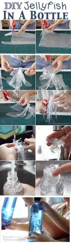 DIY Jellyfish In A Bottle is one of the coolest kids' crafts that I've come across! This has a science theme and is an easy, inexpensive, clever craft to make. Reduce, reuse, recycle is the battle cry of our Earth. The Earth will be pleased because this craft is considered to be very Earth friendly. The list of supplies for DIY Jellyfish In A Bottle include a transparent grocery bag, a water bottle, thread, and food coloring.