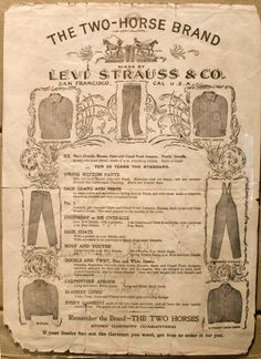 """Handbill Overalls Spring Bottom Pants ad, 1899 Levis, """"Men's Overalls, Bloomers, Open and Closed Front Jumpers"""""""