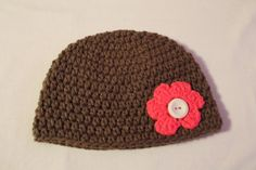 Crochet Newborn Brown Hat with Pink Flower by SweetBlessings28, $7.00