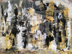 Modern Art abstract expressionist painting black tan yellow white acrylic original wall decor bold abstract modern painting by Russ Potak by RussPotakArtist on Etsy