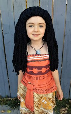Moana costume for kids with homemade crocheted yard wig  (with hair disheveled)