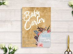 fall in love baby shower,  falling in love baby shower invitation, flower bloom baby shower invitation #BBS207 by BRIDETALKpaperie on Etsy