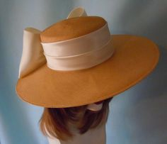 Large Ivory Straw Picture Hat with Off White Satin by BeABride, $75.00