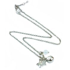 AN0018 - Rhodium plated necklace with star and bead charms  www.annabellewalker.com