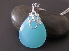Blue Chalcedony necklace in white gold N100 by odalisca on Etsy, $26.00