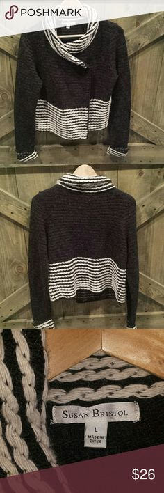 Black&Cream Sweater Versatile. Size large. Rock this sweater with leggings and boots... or go business and pair with a nice pencil skirt. Susan Bristol  Sweaters Cardigans