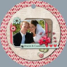 Metal ornament with wedding photo.  First Christmas keepsake.  All art is editable so you can change anything you want.  Double-sided ornament.  Click to see the other side.  www.heritagemakers.com/jenniferwise