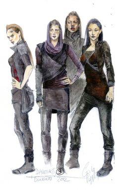 """Costume design concept art from """"Divergent"""" by Carlo Poggioli."""