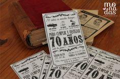 Invitación Vintage 70 años #invitación #ideas #monadas #eventos #cumpleaños #vintage http://www.monadaseventos.com.ar/invitacion-vintage-70-anos/