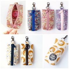 haco28+ -  リールキーホルダーポーチなど Diy Coin Pouches, Sewing To Sell, Diy Keychain, Keychains, Small Sewing Projects, Cotton Bag, Zipper Bags, Small Bags, Minis