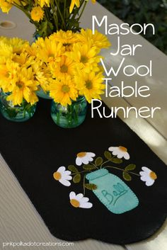 mason jar wool table