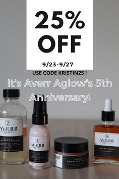 I am so excited to share that it's the 5th anniversary of one of my absolute favorite skin care brands Averr Aglow !!! AD Sept 23rd-27th you can get huge discounts including 25% OFF with my code KRISTIN25 ! Averr Aglow is also doing 5 days of giveaways through their insta (@averraglow) and the prizes get bigger every day. 😍 They've transformed over 75,000 women's skin and they can transform yours too. If you've been wanting to try out their products - now is the time! #SkinCare #AverrAglow…