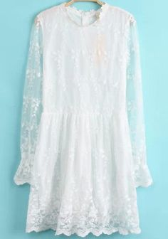 White Long Sleeve Sheer Lace Dress 21.00