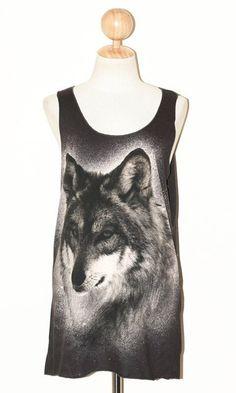 43658db8139c Wolf Face Charcoal Black Women Top Clothing Animal Tee Singlet Art Punk  Rock Pop Sleeveless Animal T-Shirt Size L