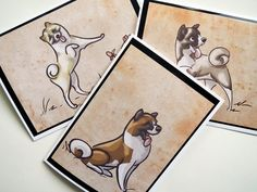 AKITA Greeting Cards by SUPATOON on Etsy, $18.00