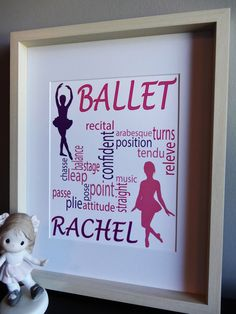 Personalized Ballet Print Ballet Dancer Print by MDesignCompany.  Order Today:  etsy.com/shop/MDesignComany