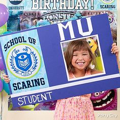A screamin' Monsters U birthday party idea! Take super-fun *student I.D.* pictures with a DIY photo prop you make out of poster board, cutouts and streamers! Click for more fun ideas!