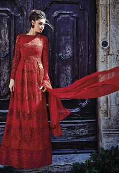 "#Ravishing #Red !  #Red #Net #kameez designed with Heavy Zari,Resham Embroidery With #StoneWork And #LaceBorder Work. Available with Red Dyed Rayon Bottom. This #SemiStitch kameez can be customized upto 44"""" inches.  INR: 5563 Only With #Amazing #Discounts  Grab @ http://tinyurl.com/haow2f7  #Designerwear #Indianwear #Onlineshopping #Redcolor #Suits #SalwarKameez #Offers #PartyWear #Stunning #LongSuits #FloorLength #Trends #Fashion #Sale"
