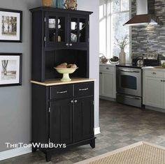Black Kitchen Hutch Buffet China Cabinet Storage Cupboard Pantry Bakers Rack New Ebay