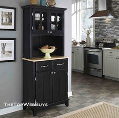 Black Kitchen Hutch Buffet China Cabinet Storage Cupboard Pantry Bakers Rack New | eBay
