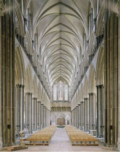 Inspiring Gothic proportions of the Salisbury Cathedral. Salisbury, England 1258