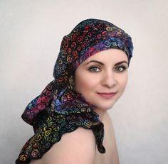 Rainbow Swirl Turban Dreads Wrap, Purple Blue Head Wrap, Alopecia Scarf, Chemo Hat, Boho Gypsy Tribal, One Piece Wrap, Batik Turban 334-20 - pinned by pin4etsy.com