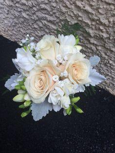 Moms flowers. Elegant Vendella and freesia with dusty miller. www.HollandDazeWeddings.com