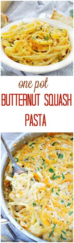 No-fuss creamy butternut squash pasta for those busy nights when you just don't have the time. Easy peasy with only one pan to clean up! (Baking Squash Whole) Veggie Recipes, Fall Recipes, Pasta Recipes, Vegetarian Recipes, Dinner Recipes, Cooking Recipes, Healthy Recipes, Weeknight Recipes, Sausage Recipes