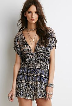 Abstract Print Surplice Romper   Forever 21   #thelatest