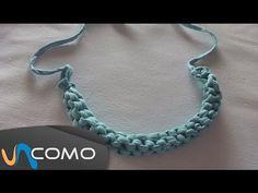 Hacer un collar de trenza cuadrada con trapillo - YouTube