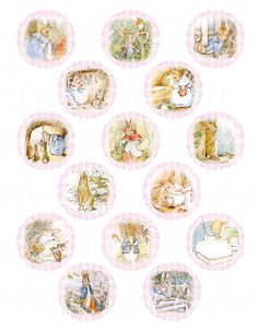 digital download of 15 peter rabbit cupcake toppers, 2 inch circles, printable download for paper crafts -- no. 526