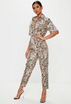 72045e963adf66 Brown Snake Print Shirt Jumpsuit | Missguided Jumpsuit Outfit, Summer  Jumpsuit, Brown Jumpsuits,