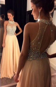 Beaded Prom Dresses,Long Prom Dresses,Chiffon Halter 2K17 Prom