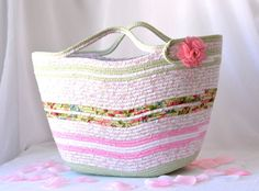 Pink Tote Bag Handmade Coiled Fabric Basket Shabby Chic