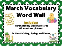 March Vocabulary Word Wall cards are a great source for language development and visual aids for ELL ESL and Special Education students. Also appropriate for elementary mainstream classrooms!  Brightly colored word wall cards make writing and vocabulary fun and exciting! Many ways to use these cards in your classroom: write around the room, creative writing, speaking activities (we are working on adjectives and nouns and these are a great help!) St.Patrick's Day, Spring, and Easter… Preschool Themes By Month, Classroom Rules Poster, Vocabulary Word Walls, Spring Words, Holiday Words, Back To School Night, Visual Aids, Language Development, Classroom Activities