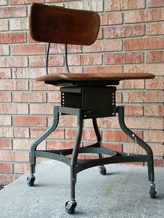 Vintage Industrial Steel American UHL Toledo by EccentricDecor Machine Age, Vintage Chairs, Desk Chair, Vintage Industrial, Bar Stools, Steel, American, The Originals, Antiques