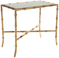 Monica Glass-Top Gold Faux Bamboo Accent Table