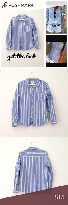 Forever 21 button down shirt Forever 21 long sleeve button down shirt. 52% linen 48% cotton. NWT. Comes with extra button. Forever 21 Tops Button Down Shirts