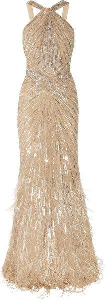 ROBERTO CAVALLI Embellished Silkchiffon Gown