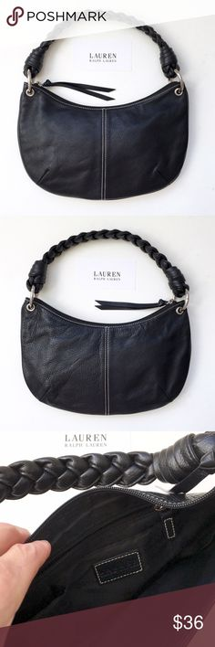 """Lauren by Ralph Lauren Crescent Shoulder  Bag❤️ Color: black. Crescent shaped shoulder bag. 18 inch braided vegan leather strap. Heavy stitching detail.. Measures: 13"""" x 7.5"""". Natural drop from shoulder to purse base is 15 inches. Lining is in perfect condition. One zip interior pocket and two pouches for small essentials. Zip opening with tassel pull. Polished silver hardware. No identifying label for material body, looks like leather but cannot be assumed, strap looks synthetic. This purse…"""