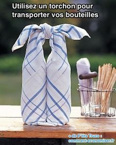 Bottle Wrap: This quick folding trick helps you get a handle on picnic wines, then yields a place to lay your outdoor feast. Start with a square tablecloth that's at least 36 inches. Lay it right side down. Great for a picnic or hostess gift! Martha Stewart, Homemade Gifts, Diy Gifts, Wrapped Wine Bottles, Hostess Gifts, Housewarming Gifts, Just In Case, Wraps, Gift Wrapping