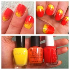 """My Hunger Games """"Girl on Fire"""" manicure: excluding the base color, brush each polish from the tip of the nail downward. I used Zoya Pippa, OPI Hot & Spicy and Essie All Lacquered Up."""