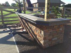 Outdoor kitchen w/concrete counter top