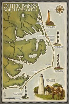 Lighthouse & Town Map - Outer Banks, North Carolina - Lantern Press Poster