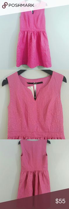 """Kensie Hot Pink A Line Party Dress NWT! Gorgeous and fun dress in an a line cut. Fabric is structured, not a lot of give. Print is raised, looks like shiny snake skin! Side zip, notch v-neck. Siky liner.  Length: approx 34"""" Waist: approx 28""""  **Bundles receive 20% off + a free gift!** Kensie Dresses"""